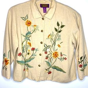 Tapestry Patch Embroidered Lagenlook Top  2 XL XXL